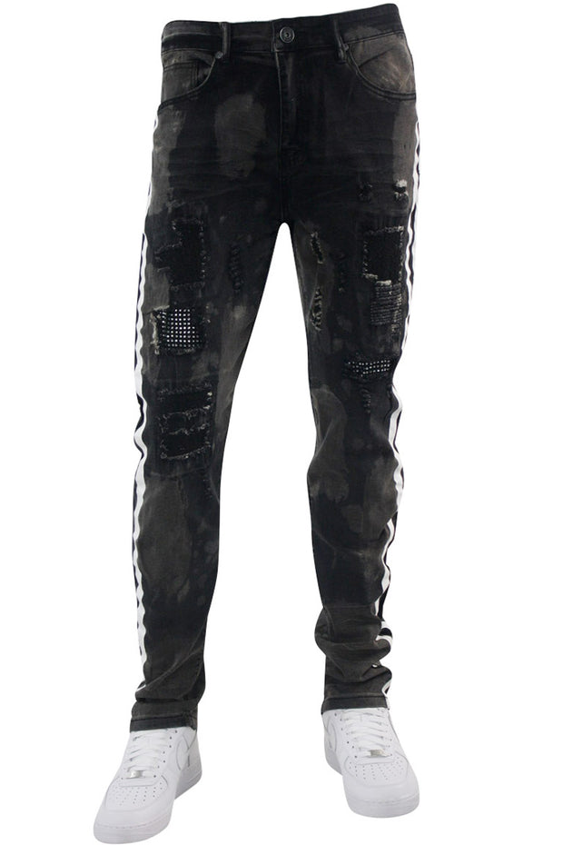Ripped Skinny Fit Denim Black Pink Wash (M5049D) - Zamage