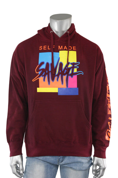 Self Made Savage Hoodie Burgundy (9157H)