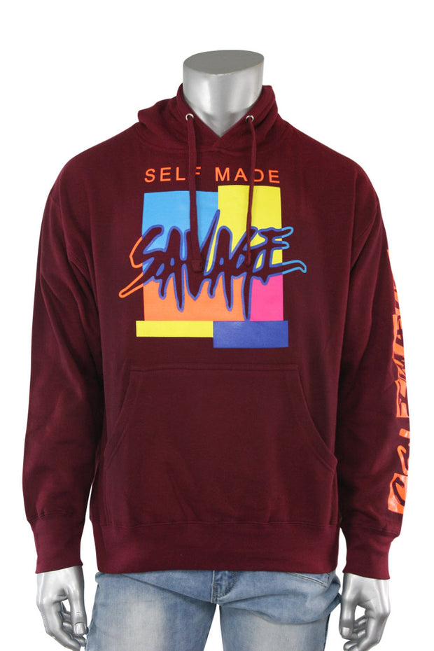Self Made Savage Hoodie Burgundy (9157H) - Zamage