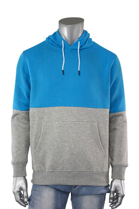 Two Tone Pull Over Hoodie Aqua - Heather Grey (CAP03T 22S)