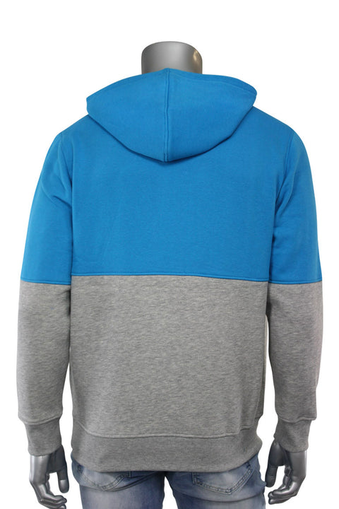 Two Tone Pull Over Hoodie Aqua - Heather Grey (CAP03T 22S) - Zamage