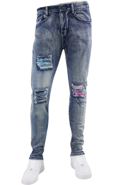Tie Dye Backin Skinny Fit Denim Blue Wash (M5046D) - Zamage