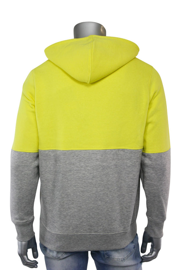 Two Tone Pull Over Hoodie Yellow - Heather Grey (CAP03T 22S)