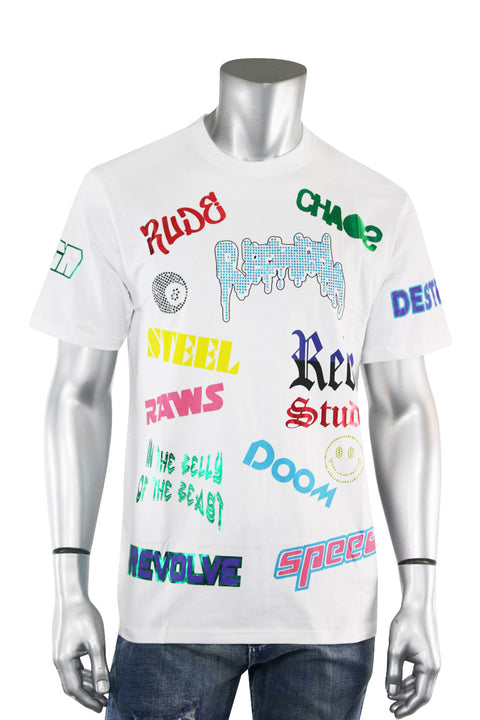 Statement Collage Tee White (1A2-161) - Zamage