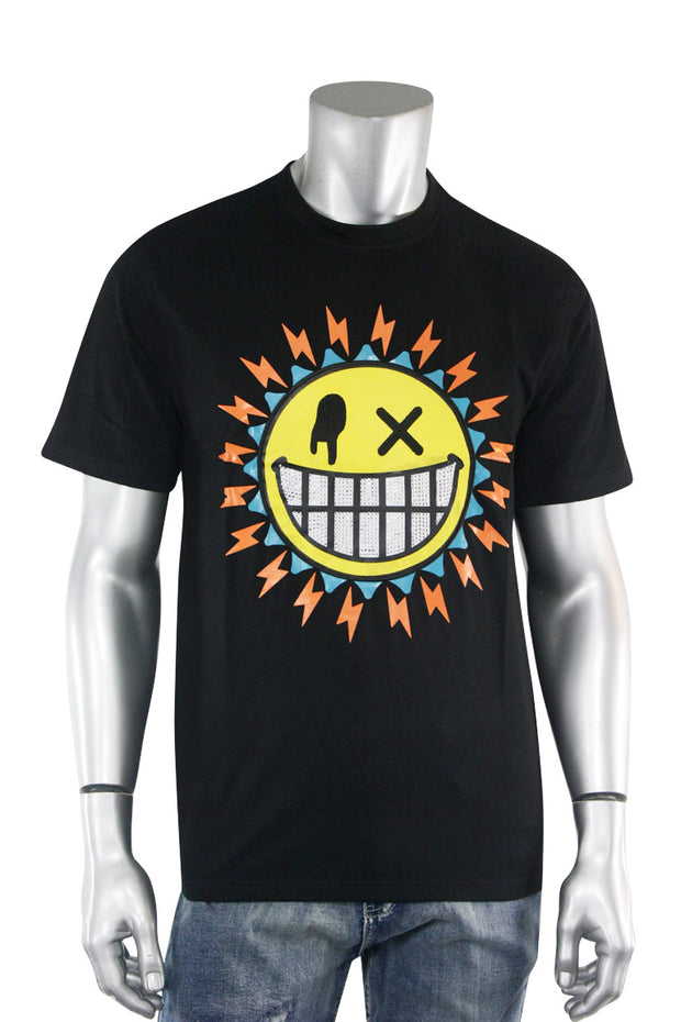 Studded Smiley Tee Black (1A2-104) - Zamage