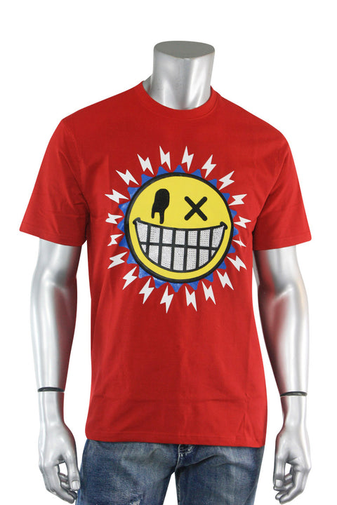 Studded Smiley Tee Red (1A2-104) - Zamage