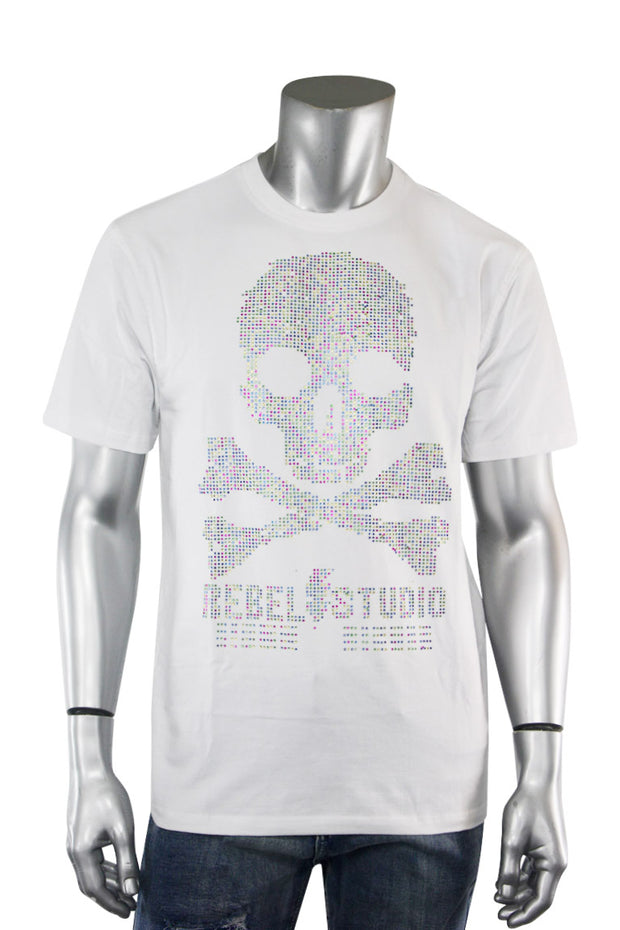 Studded Skull Tee White (1A2-162) - Zamage
