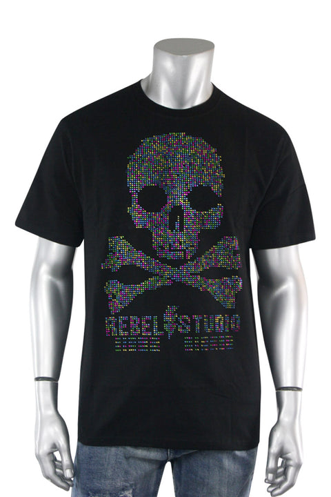 Studded Skull Tee Black (1A2-162) - Zamage
