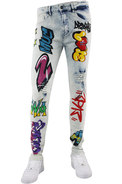 Graffiti Print Skinny Fit Denim White Wash (M4989DA) - Zamage