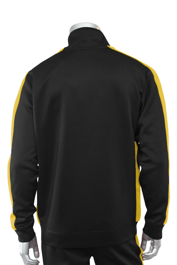 Solid One Stripe Track Jacket Black - Gold (100-501)