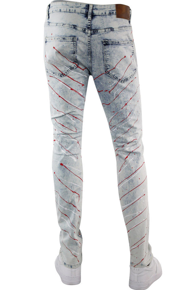 Paint Splatter Skinny Fit Denim White Wash (M4948DA) - Zamage