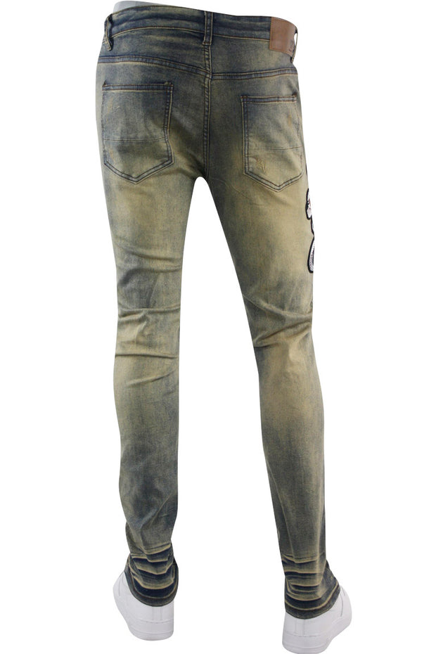 Distressed Cobra Embroidered Skinny Fit Denim Vintage Wash (M5001D) - Zamage