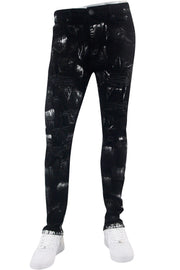 Destroyed Paint Splatter Skinny Fit Denim Black - Silver (M5050D) - Zamage