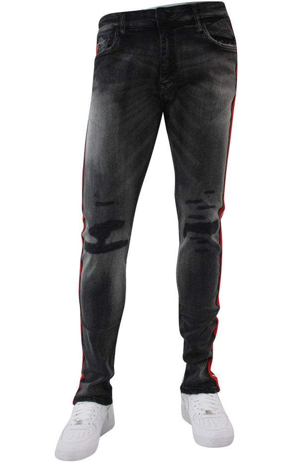 Jordan Craig Double Stripe Track Denim Black Shadow (JM3367) - Zamage