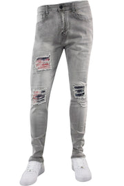 Tie Dye Backin Skinny Fit Denim Grey Wash (M5046D) - Zamage