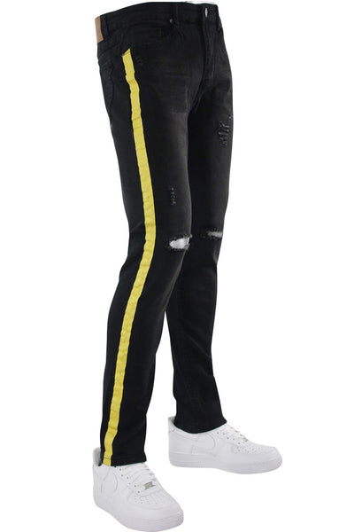 Destructed Knee Slim Fit Denim Black - Yellow (M4623DA) - Zamage