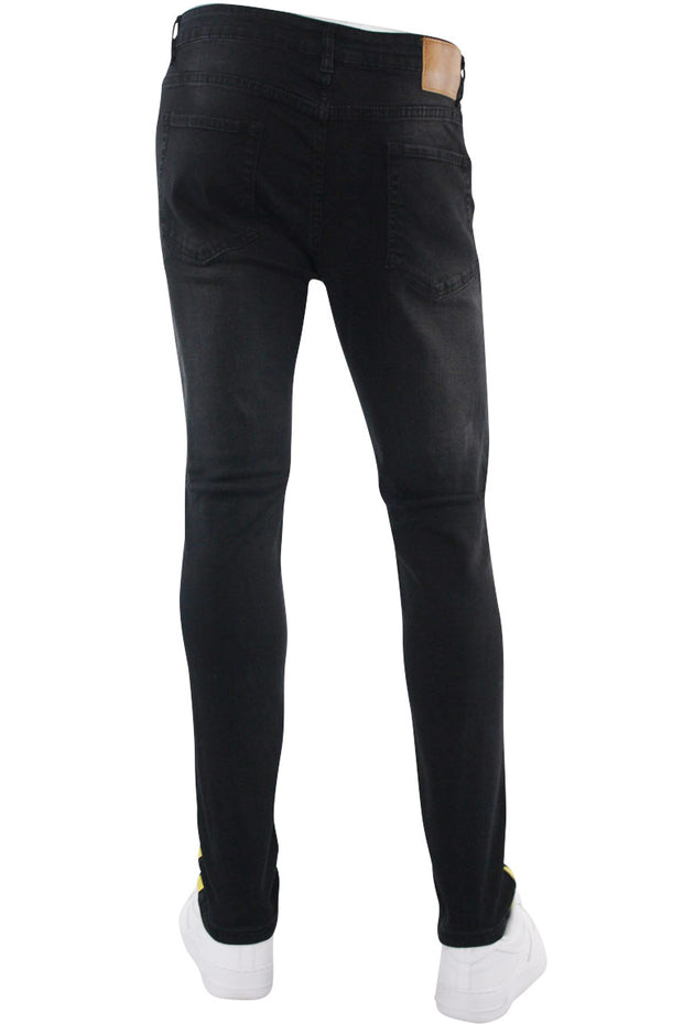 Destructed Knee Slim Fit Denim Black - Yellow (M4623DA)