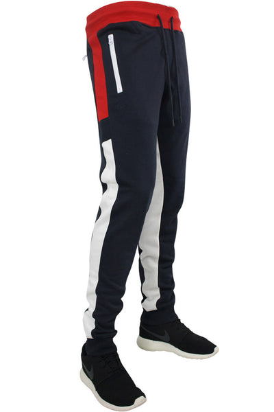 Jordan Craig Color Block Fleece Track Pants Navy - Red - White (8319 22S) - Zamage