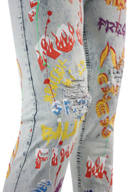 Graffiti Paint Splatter Skinny Fit Denim White Wash (M4899DA) - Zamage