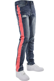 Side Stripe Distressed Skinny Fit Track Denim Blue Wash - Orange Peachish 🍑 (M4708R1D) - Zamage
