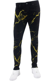 Ripped Skinny Fit Denim Black - Gold (M5084D) - Zamage