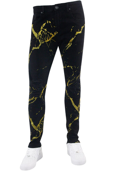 Ripped Skinny Fit Denim Black - Gold (M5084D)