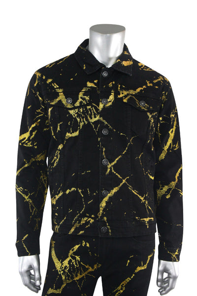 Ripped Denim Jacket Black - Gold (M6186D) - Zamage