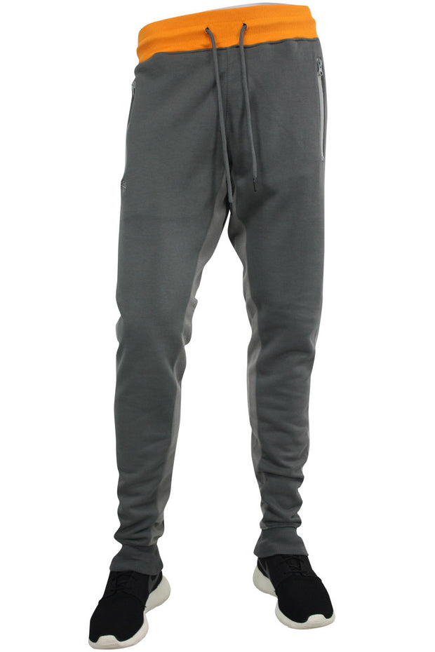Jordan Craig Color Block Fleece Track Pants Orange - Grey (8319 22S) - Zamage