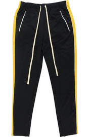 Premium Side Stripe Zip Pocket Track Pants Black - Yellow (ZCM4418Z)