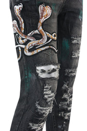 Distressed Cobra Embroidered Skinny Fit Denim Black Wash (M5001D) - Zamage