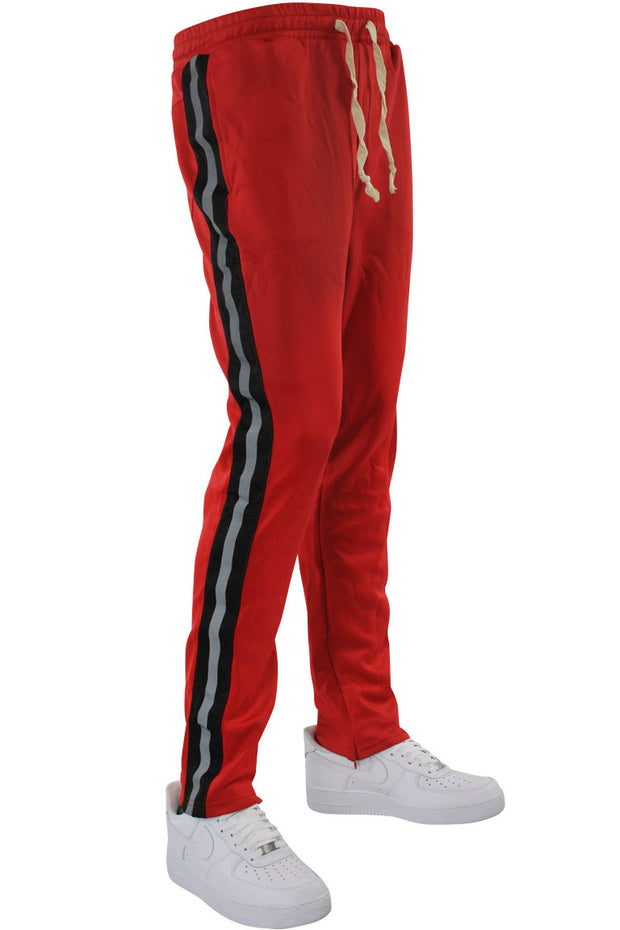 Double Stripe Track Pants Red - Black (HF9624) - Zamage