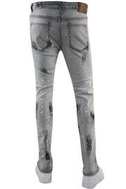 Rhinestone Backin Skinny Fit Denim Grey Bleach Wash (M5004D) - Zamage