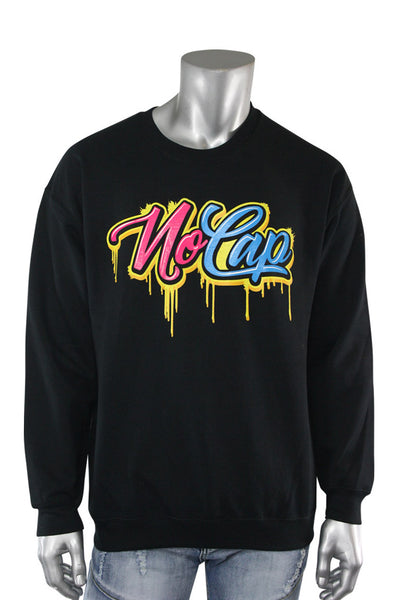 Drippin No Cap Crewneck Black (9717CF) - Zamage