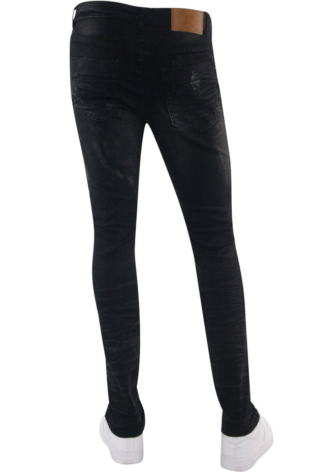 Destroyed Skinny Fit Denim Black Wash (M5018D) - Zamage
