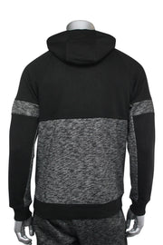 Jordan Craig Color Block Fleece Track Hoodie Black - Marled Black (8319H 22S) - Zamage