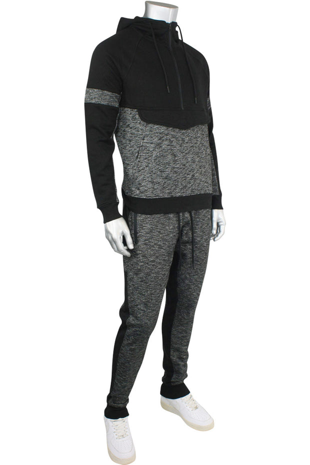 Jordan Craig Color Block Fleece Track Pants Black - Marled Black (8319 22S) - Zamage