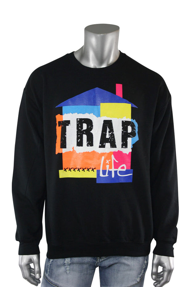 Trap Life Color Block Crewneck Black (9705CF) - Zamage
