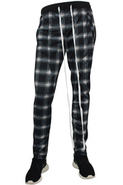 Side Stripe Plaid Track Pants Black - White (M4540PS)