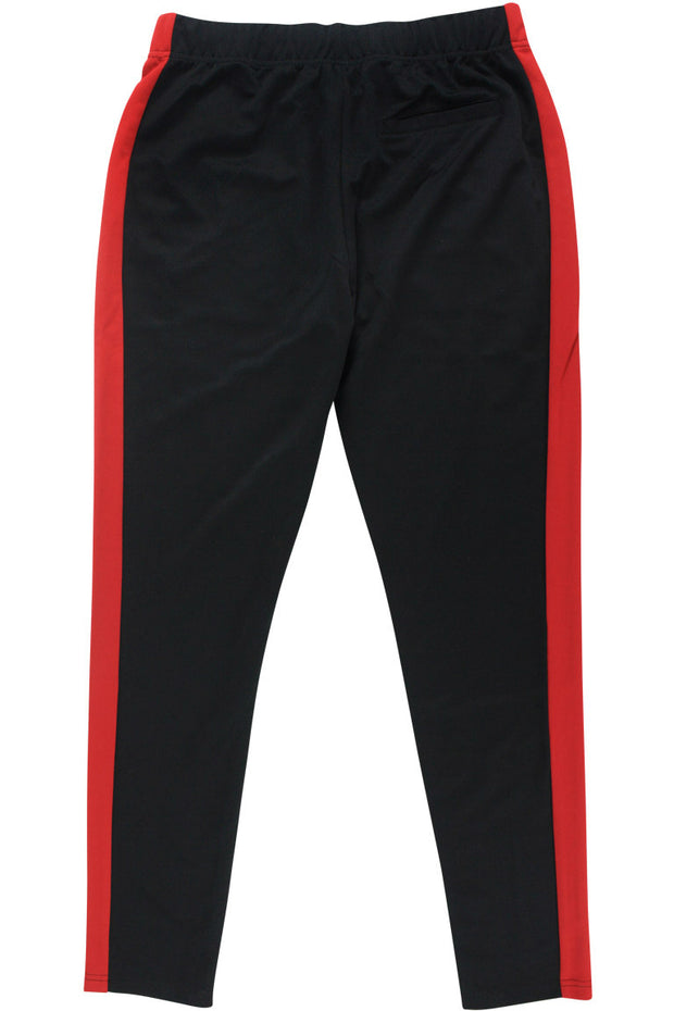 Premium Side Stripe Zip Pocket Track Pants Black - Red (ZCM4418Z)