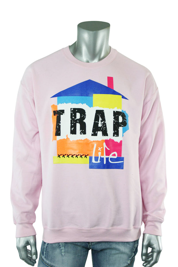 Trap Life Color Block Crewneck Light Pink (9705CF)