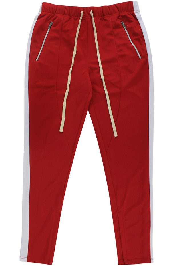 Premium Side Stripe Zip Pocket Track Pants Red - White (ZCM4418Z)