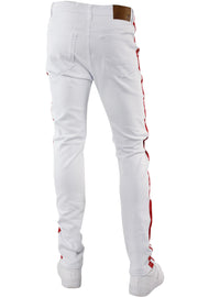 Side Stripe Knee Slit Skinny Fit Denim White - Red (M4701T) - Zamage