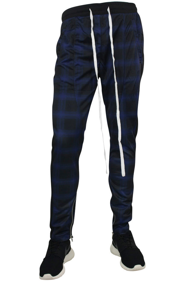 Side Stripe Plaid Track Pants Black - Cobalt (M4540PS)