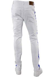 Side Stripe Knee Slit Skinny Fit Denim White - Blue (M4701T)