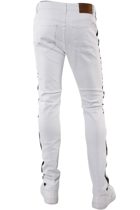 Side Stripe Knee Slit Skinny Fit Denim White - Black (M4701T)