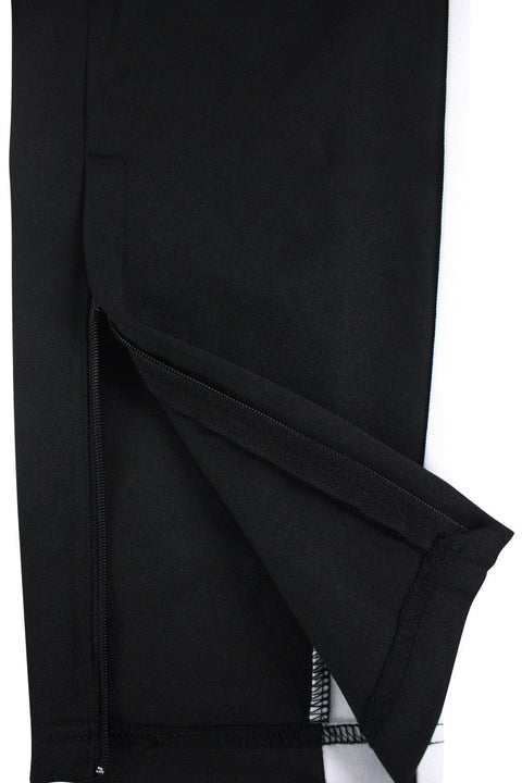 Premium Side Stripe Zip Pocket Track Pants Black - White (ZCM4418Z) - Zamage