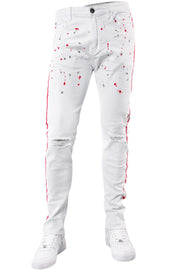 Side Stripe Knee Slit Skinny Fit Denim White - Pink (M4701T) - Zamage