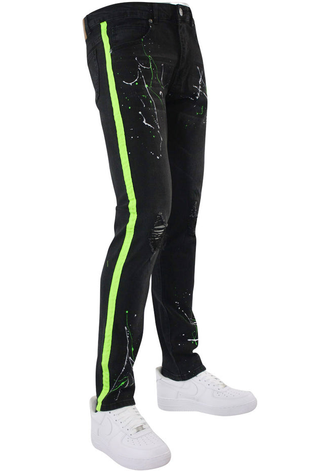 Side Stripe Paint Splatter Skinny Fit Denim Black - Green (M4825D) - Zamage