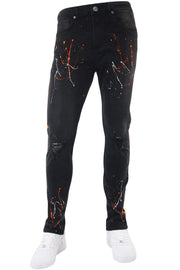 Side Stripe Paint Splatter Skinny Fit Denim Black - Orange (M4825D)