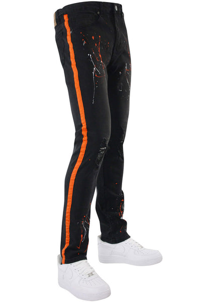Side Stripe Paint Splatter Skinny Fit Denim Black - Orange (M4825D) - Zamage